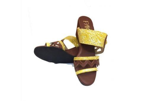 Buy Bailey Yellow And Brown Wedge Heels for Women